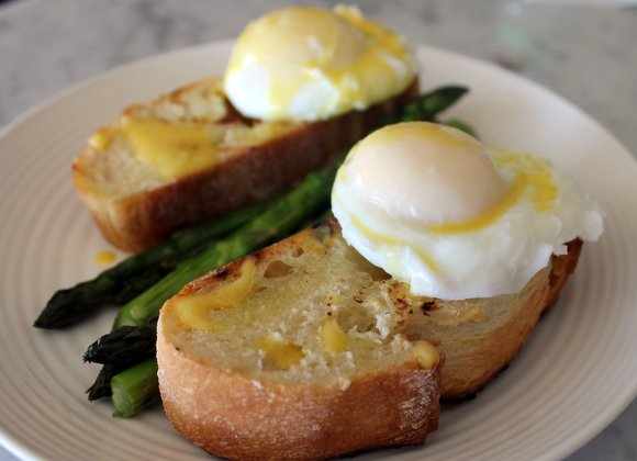 Poached eggs and new asparagus